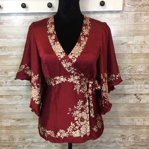 Nanette Lepore silk kimono wrap around top floral